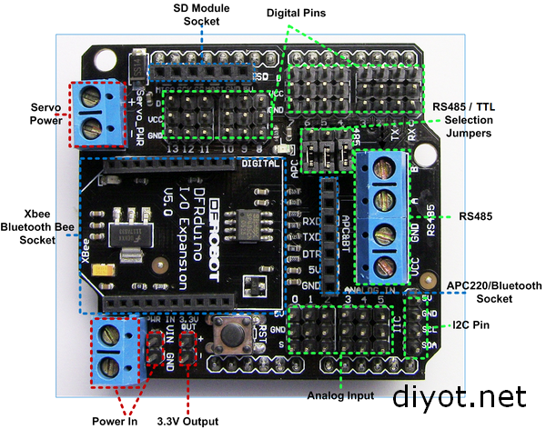 Arduino xbee ve io Genişletme Shieldi