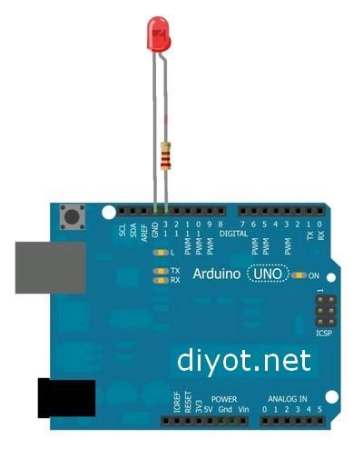 Arduino ile led yakıp söndürme